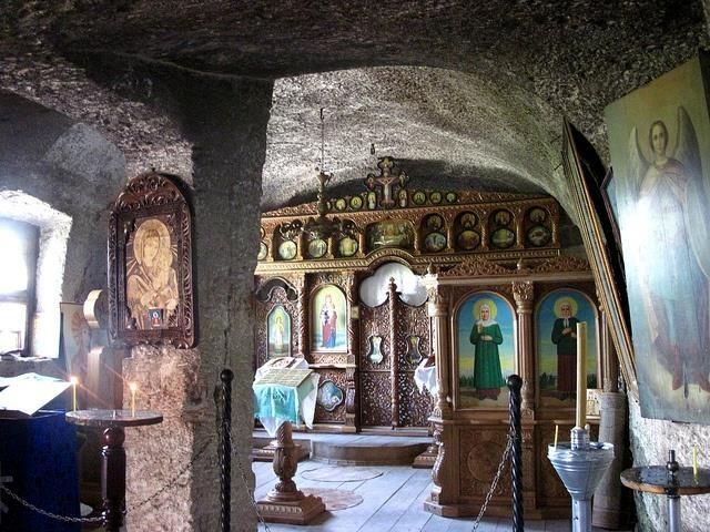 Inside the Orhei Vechi Cave Monastery, Moldova