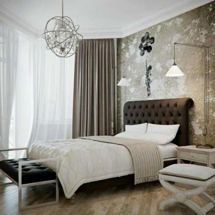 Chocolate bedroom with neutral tones