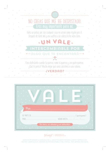 Descargable – Un vale que vale para mil regalos. | by Mr. Wonderful*
