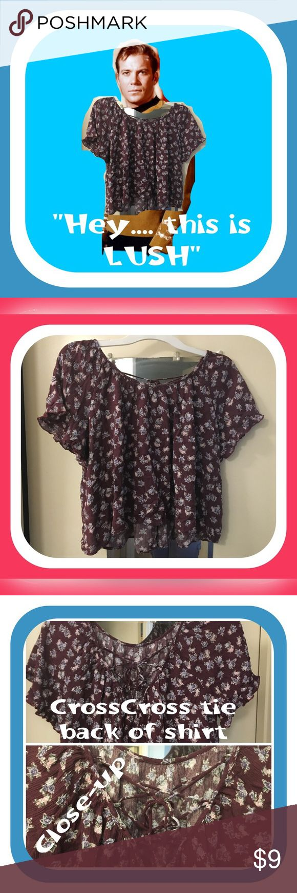💥💥 BOGO SALE 💥💥 $10 & Under items only ❤️❤️❤️❤️❤️ LUUUUUUUSSSSHH ❤️❤️❤️❤️ adorable flower print top.  Back has straps that crisscrodd and tie.  Length hits about the waist.  💥Don't Forget to BOGO 💥💥  💥💥$10 & Under 💥💥 (Free item must be of equal or lesser Value) Lush Tops Blouses
