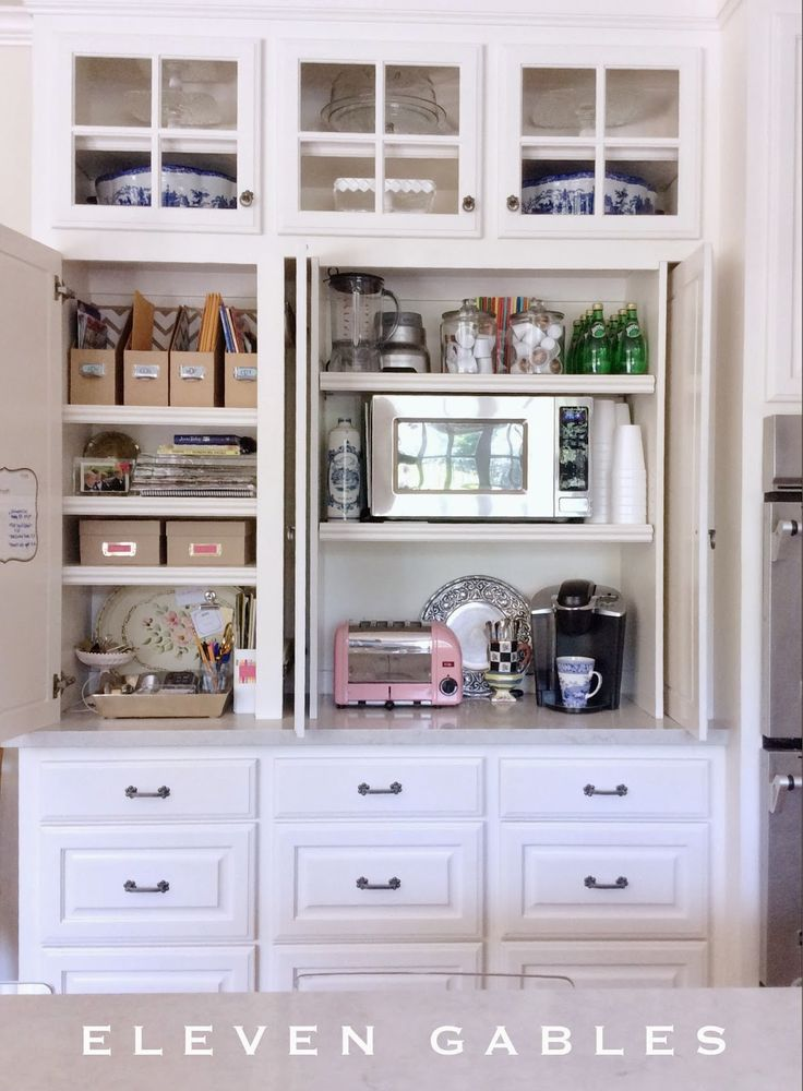 Hidden Appliance Cabinet and Desk Command Center in the Kitchen | Organization