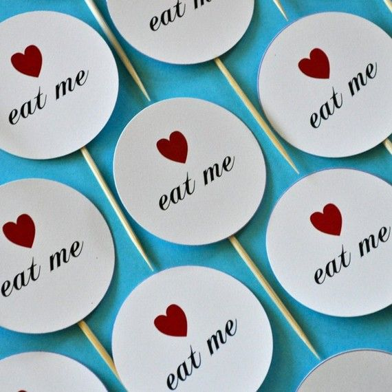 """Little """"Eat Me"""" toothpicks that go into cupcakes or otherwise...didn't do for my Alice in Wonderland party but a great idea!"""