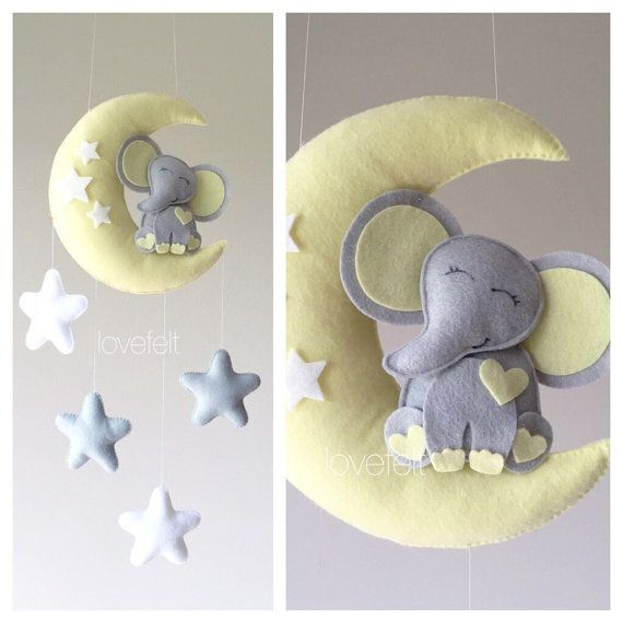 Baby mobile - elephant mobile - Crib Mobile - baby mobile elephant - elephant on the moon mobile - Baby Mobile Stars - moon mobile - neutral