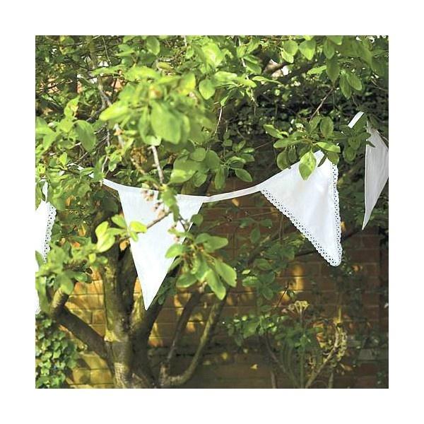Guirlande tissu shabby chic fanions dentelle blanche - 11 mètres - Décorer Le Bonheur