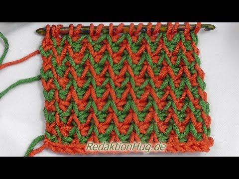 Tunisian crochet -Gänsefüßchenmuster (IN GERMAN - If you are familiar with Tunisian Crochet you can watch this video to learn this stitch... The video is very good... Deb)