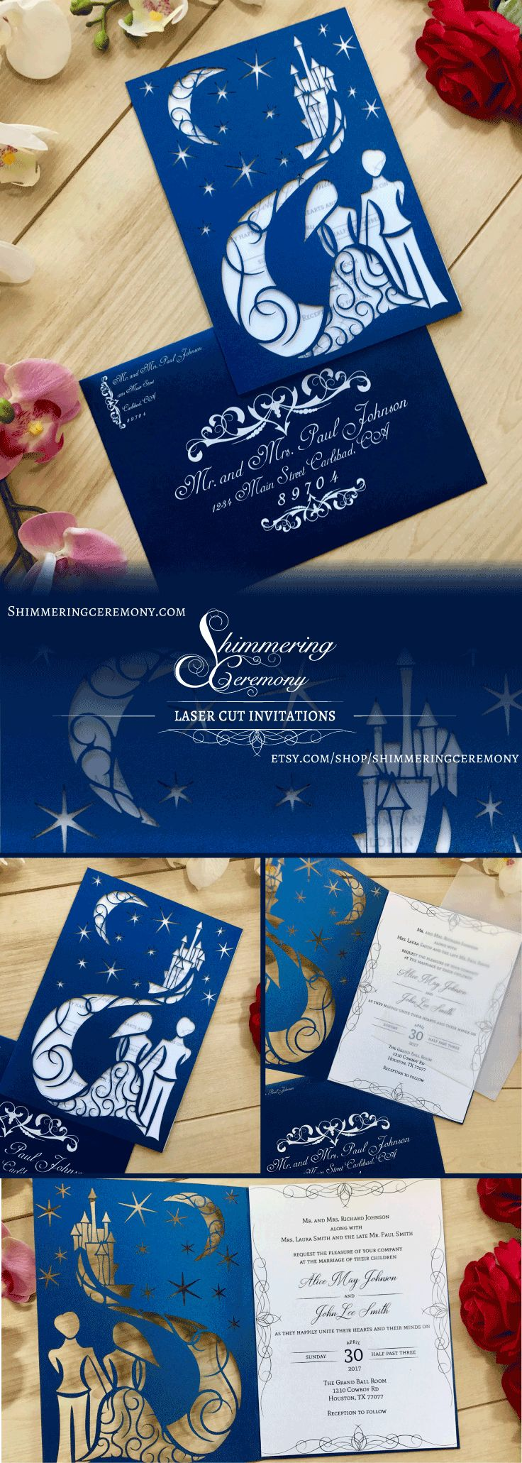 fairytale bridal shower invitation wording%0A Invite your guests to your happily ever after with the fairytale laser cut  invitation available now   fairytale  wedding  castle  starrynight  stars   moon
