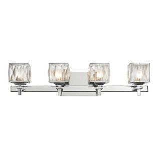 Golden Lighting - 4-Light Bath Vanity - Includes four 40 watt halogen bulb. Modern geometric form pairs with classic crystals creating a dramatic transitional style. Genuine cut crystals, which refracts light for an elegant gleam. Halogen bulbs are encased in faceted glass diffusers. Can be used in halls, stairways, bathrooms and as an accent. UL listed for damp location. Made from iron and crystal. Metallic chrome finish. Fixture width: 27 in.. Wire length:  8 in.. Fixture height: 5.75 in…