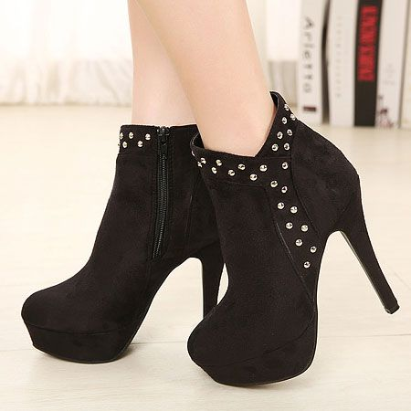 Magnificent Metal Fasteners Decorated Platform Stiletto Heel Ankle Boot