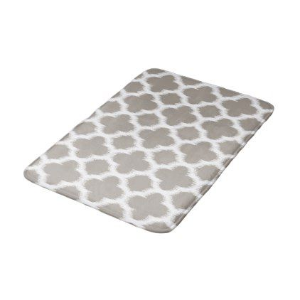 Cloudy Coffee Brown White Ikat Quatrefoil Pattern Bathroom Mat - modern gifts cyo gift ideas personalize