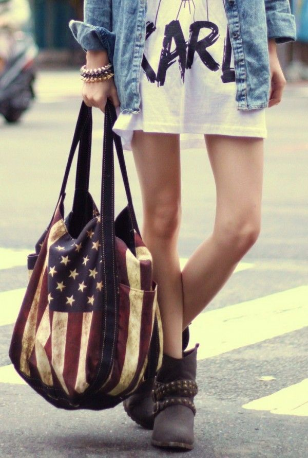 #rockabilly #grunge #americana #flag #america #usa #bag #purse #hobo #tote