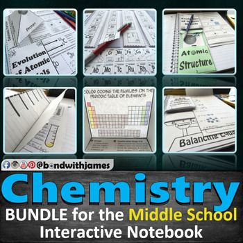 "Middle School Chemistry Bundle for Interactive Notebooks and Lapbooks.  <a href=""https://www.youtube.com/watch?v=Yjt2gkKiVZI""> Click here for a 0:35 second preview video</a>  I am specifically tailoring a few of my chemistry interactive notebook products for middle school teachers as they may not need the ionic and covalent bonding sets.   If you are a high school chemistry teacher, please check out the <a href=""https:/&#x2..."