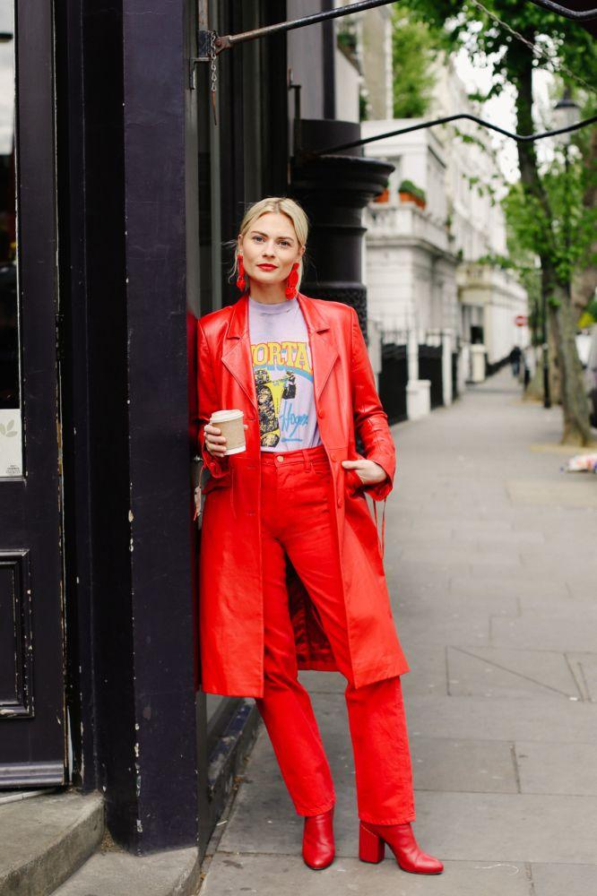 Melissa Pinkstone leather coat, Mochi Flamenca earrings, vintage T-shirt, Bliss & Mischief jeans via MATCHESFASHION.COM, Petar Petrov boots