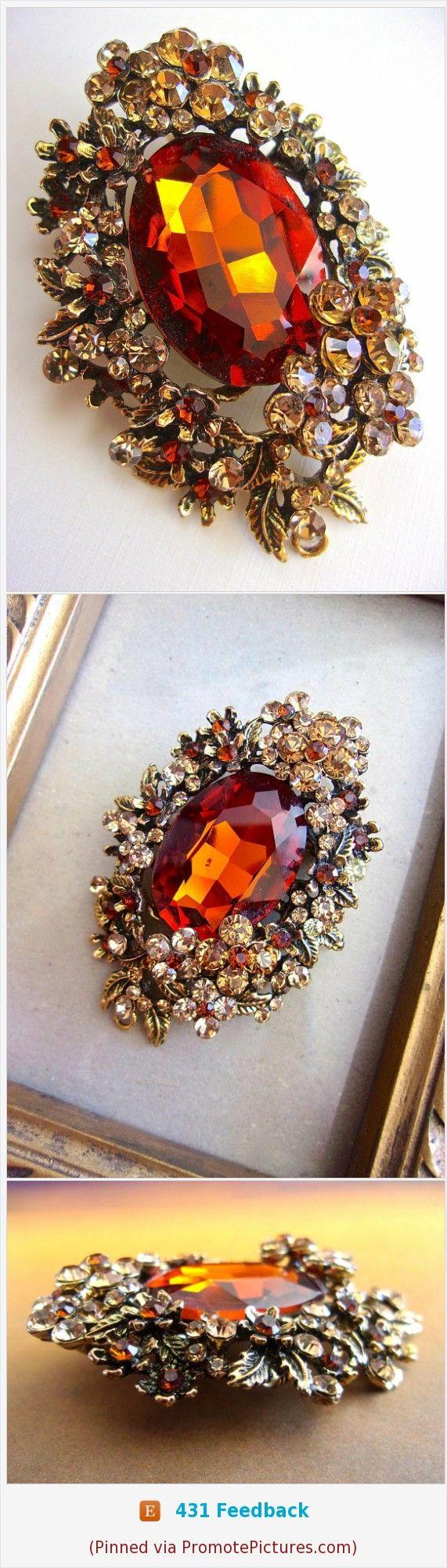 Topaz Glass Rhinestone Victorian Brooch-Pendant, Floral Motif, Vintage