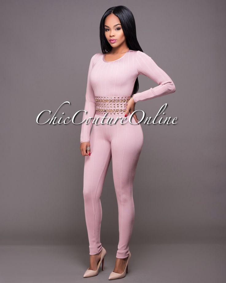Chic Couture Online - London Dusty Mauve Gold Chain Waist Bandage Jumpsuit.(http://www.chiccoutureonline.com/london-dusty-mauve-gold-chain-waist-bandage-jumpsuit/)