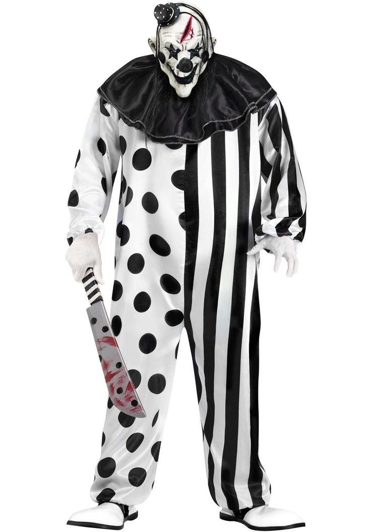 Psycho Evil Killer Black and White Clown Costume - Halloween Costumes at Escapade™ UK