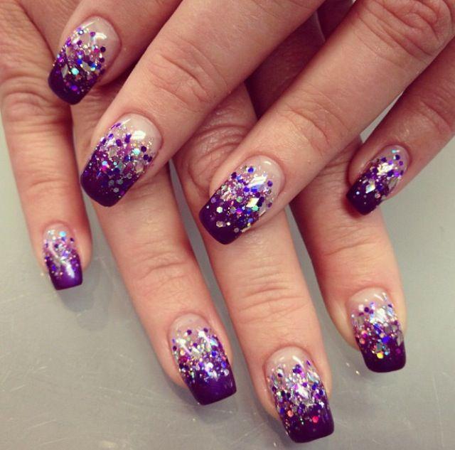 Acrylic nails #purple #nails #glitter