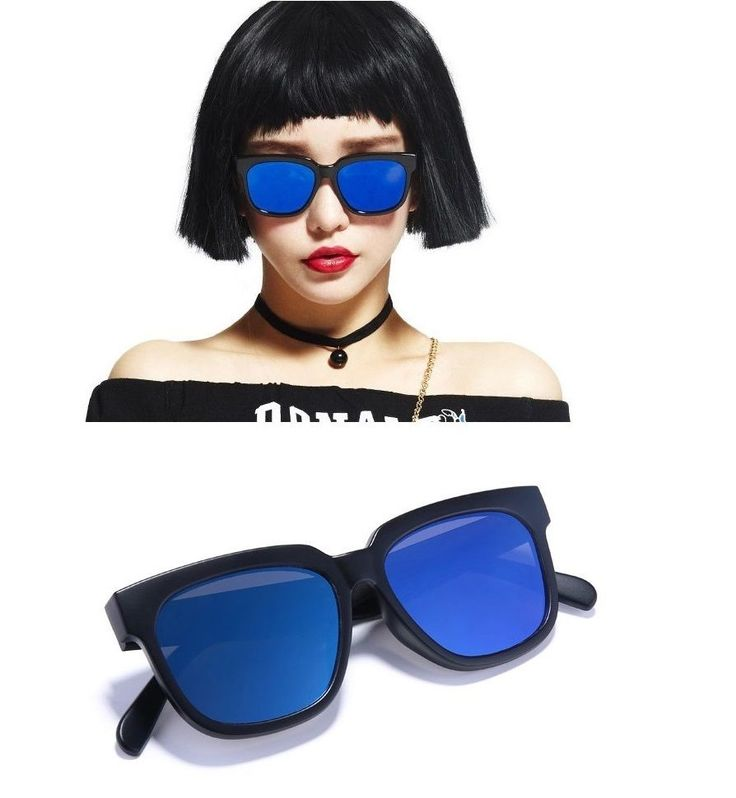 AYF Women Men Chic Black Sunglasses Blue Mirror Lens Oversize Square Glasses #AYF #Square
