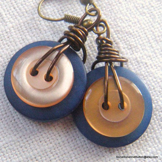 Button Earrings, Pale Orange, Blue, Shiny, Dangling, Wire Wrapped, Vintage Buttons and new Hand Dyed buttons, Medium Blue, Light Peach