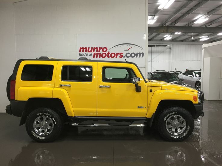 Wanna get excited about a car? Wow this Yellow Hummer H3 is Gorgeous. Loaded with leather heated power seats, Chrome package, Brush push bar, Running boards, Roof racks, HUGE sunroof, Power windows, power locks, cruise control, cup holders galore, seat map pockets, outside spare carrier, brand new Hankook tires for that off road look with highway quiet. Certified etested and ready to take home with you today. Click through for more info or check us out at munromotors.com!
