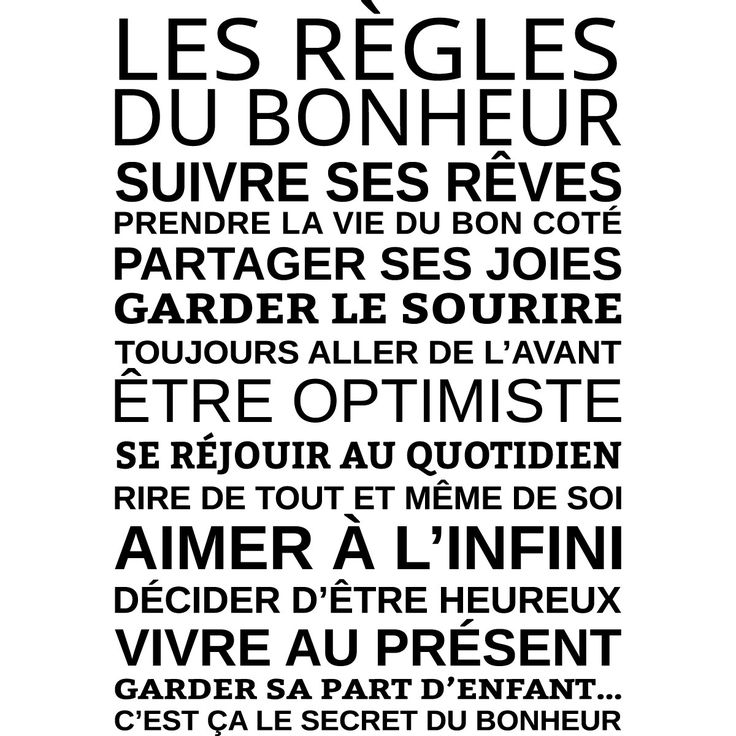 Sticker Les règles du bonheur – Stickers Citations Français - Ambiance-sticker