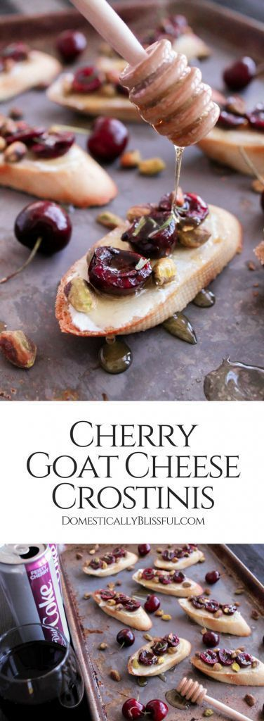 Cherry Goat Cheese Crostinis is a super simple warm appetizer made with roasted cherries, soft goat cheese, pistachios, & a drizzle of honey. #ad #ItsAMatch #DietCoke | cherry appetizer | vegetarian appetizer | fruit appetizer | dinner appetizer | cherry recipe | honey goat cheese | dinner party food | crostini recipe | quick appetizer | crostini toppings | party appetizers | finger food | crostini appetizers | pistachio recipe | rosemary | oven roasted cherries | baked appetizer |