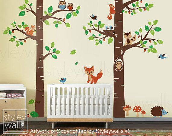 Forest Animals Wall decal Children Wall Art Decal Tree Tops Woodland Critters Nursery Baby Playroom Kids Vinyl Wall Decal Wall Sticker via Etsy