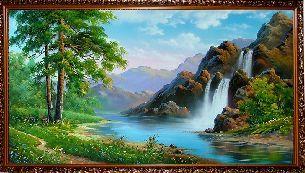 Озеро у водопада - Водопады <- Картины маслом <- Интерьер <- VIP - Каталог | Универсальный интернет-магазин подарков и сувениров