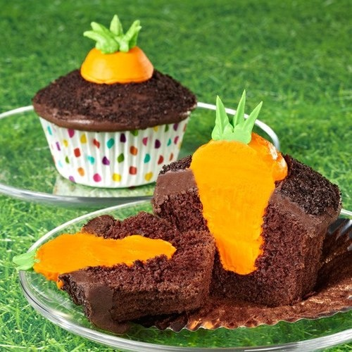 Cupcakes...carrots in dirt! Scoop out the cupcake in the middle and squirt orange frosting in.