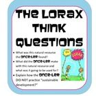 Read the Lorax (or watch and of the movies) ...then use these questions to start discussions about natural resources and sustainability. Students e...