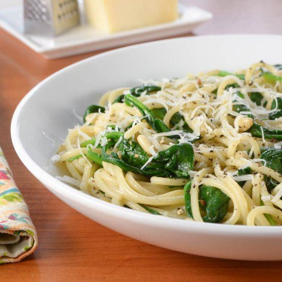 Spaghetti with Garlicky Spinach, Parmesan, and Toasted Pine Nuts