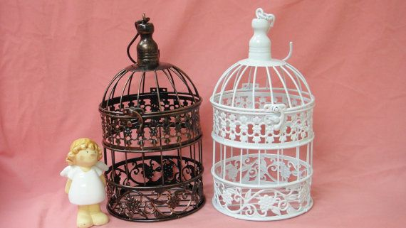 "Vintage Floral Small Bird Cage with Opening Hinged Top -  14"" Height best for home decor wedding card holder garden candle flower on Etsy, $12.50"