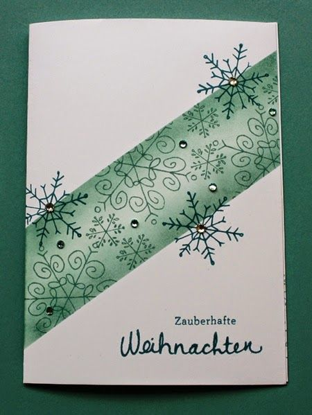 Stamp example: cards with snowflakes sponge and masking technique. Endless Wishes.