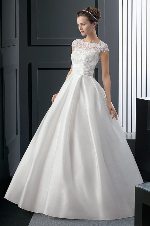 Simple elegant ball gown wedding dress with illusion lace neckline. Two by Rosa Clara, 2015