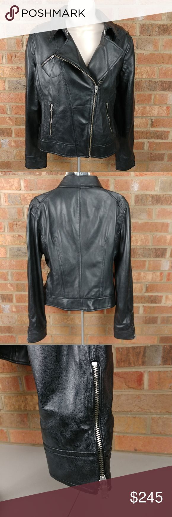 Armani Exchange Sheepskin Leather Biker Jacket Armani