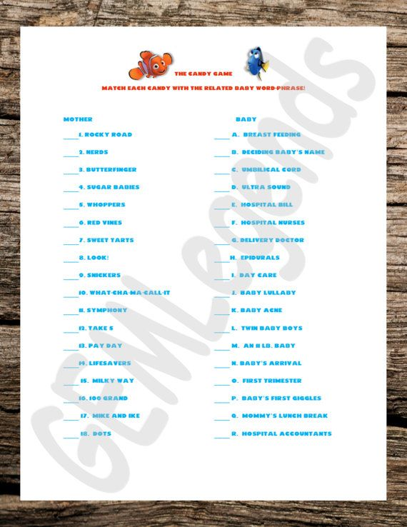 Finding Nemo Theme Games Baby Shower Games Baby by GEMLegends