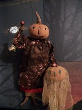 Primitive doll~Halloween~Pattern~Fall Pumpkin moon watcher~by Dumplinragamuffin