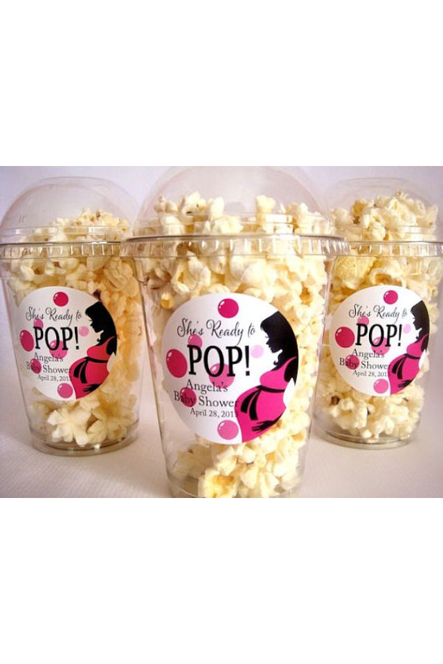 She's ready to pop popcorn from Etsy. Baby shower food ideas