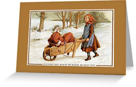 Antique Victorian Christmas Santa girl wheelbarrow by aapshop