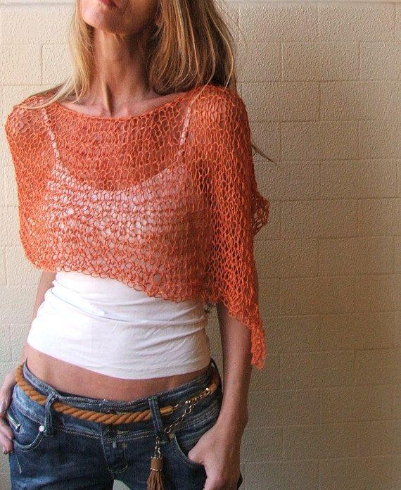 poncho naranja suelta tejer PONCHO abrigo ligera de por ileaiye