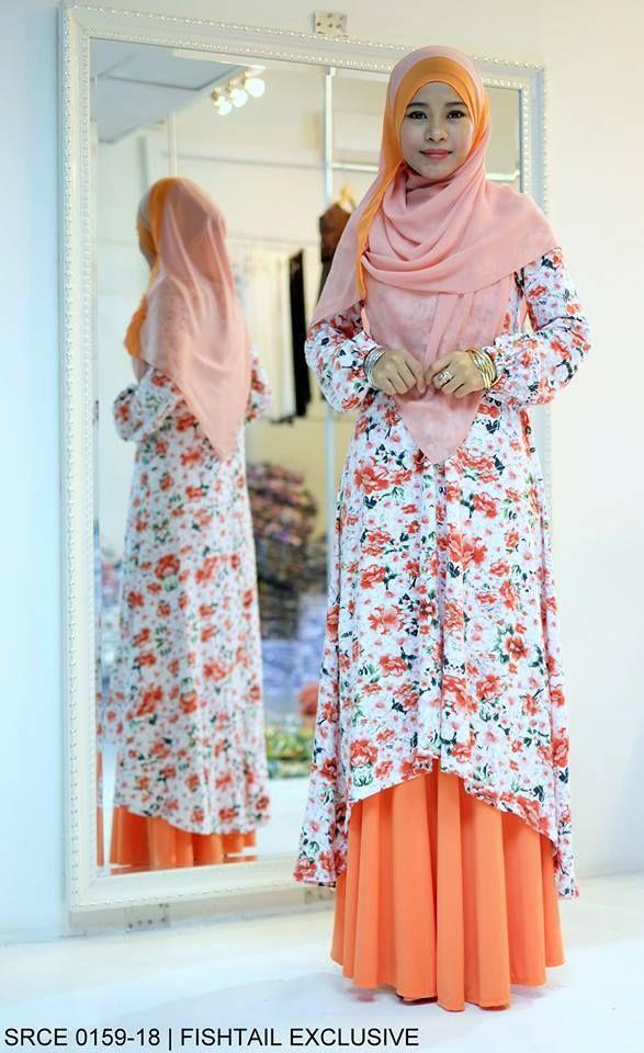 Muslimah Orange Floral Fishtail Dress