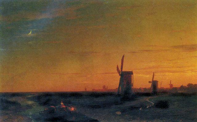 Landscape with Windmills: 1860  Ivan Aivazovsky