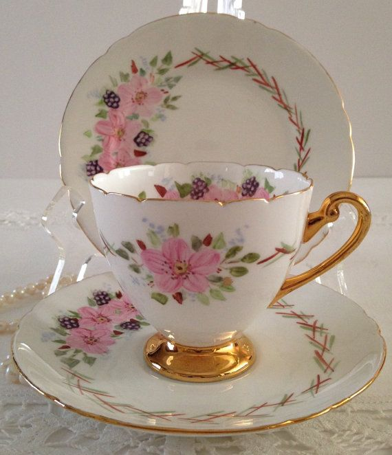 One of A Kind Hand Painted Shelley Trio Tea Cup, Saucer and Plate