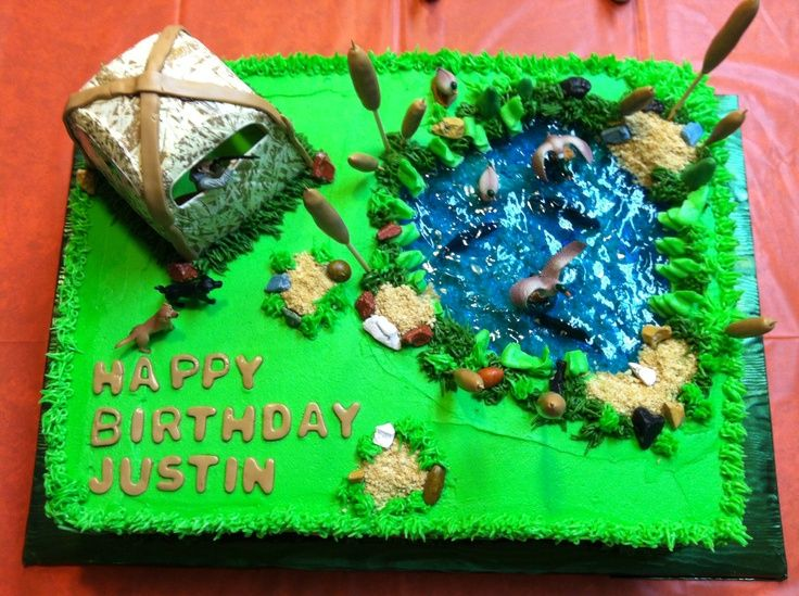 duck hunting cake | Duck hunting cake with pond!!!! | Loretta