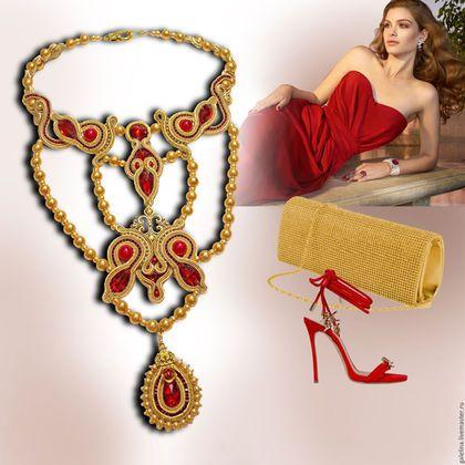 Купить или заказать Колье 'Сердце маркизы', коллекция 'Шарм' в интернет-магазине на Ярмарке Мастеров. Изысканное,воздушное колье в золотисто-красных тонах обязательно сделает Вас королевой вечера! Подобрав в тон аксессуары -смело можете надевать под любого цвета платье!