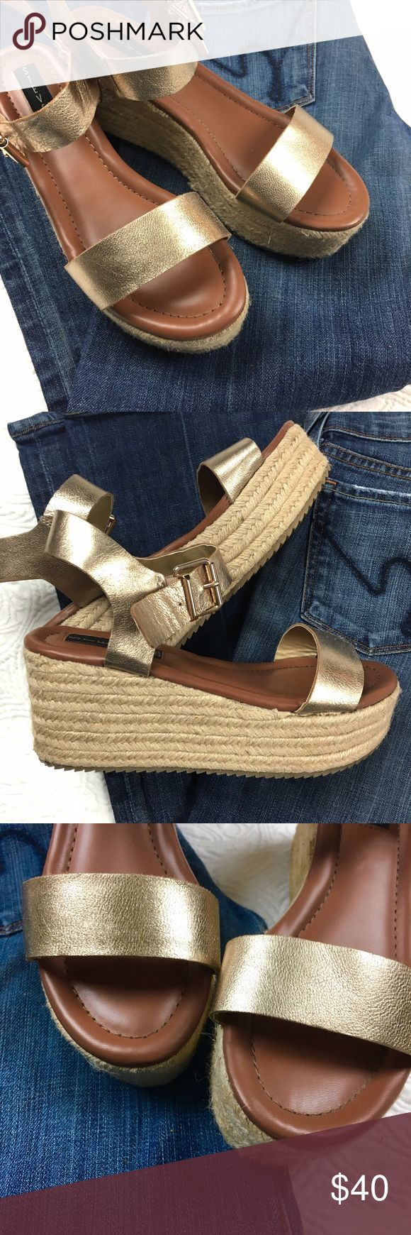 """STEVEN Sabbie Leather Espadrille STEVEN by Steve Madden Golde Sabbie leather Platform Espadrille in excellent condition. Worn Once briefly. 2.75"""" Hell 2"""" Platform Extremely Comfortable and Stylish Shoe. True to size. no trades pls Steven by Steve Madden Shoes Espadrilles"""