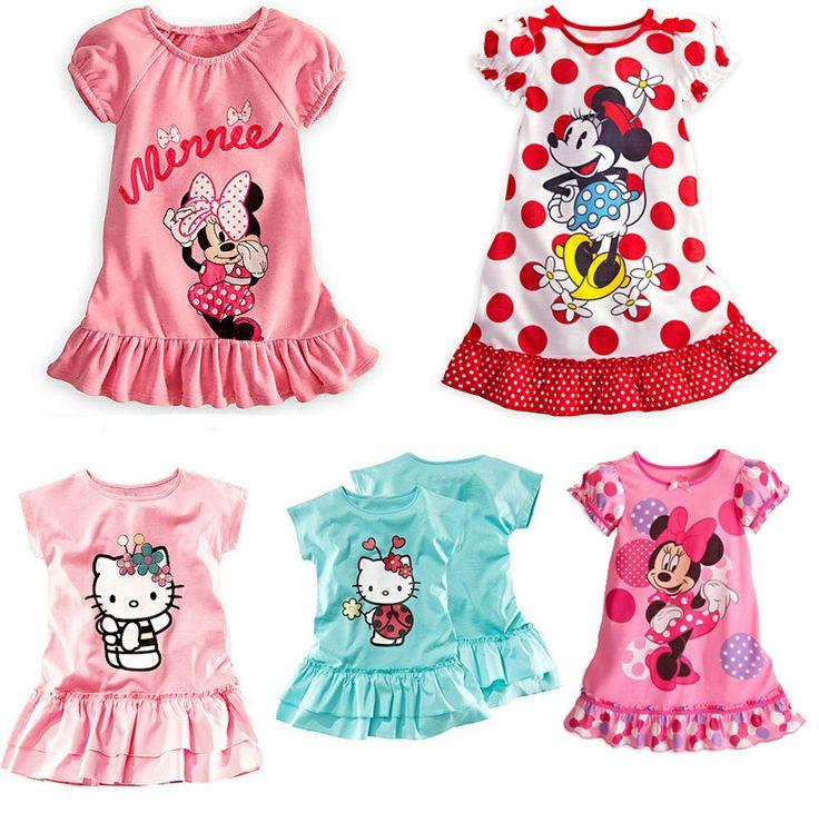 Retail kids girls dress 2014 new summer dress Hello Kitty children's clothing cartoon cute girl dress cat