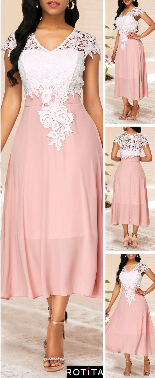 V Neck Cap Sleeve Lace Patchwork Dress