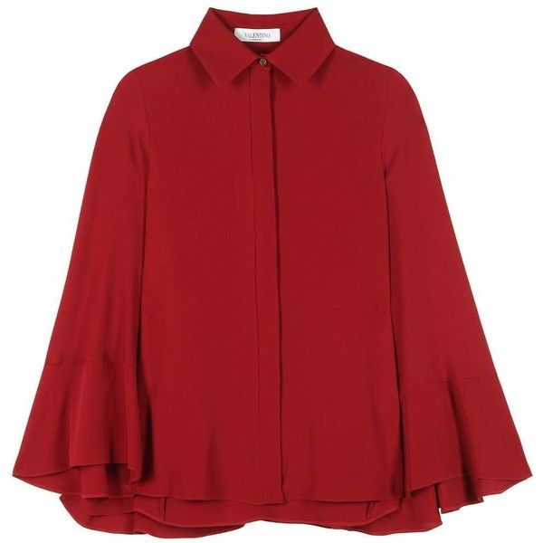 Valentino Silk Cape Blouse ($2,855) ❤ liked on Polyvore featuring tops, blouses, valentino, jackets, outerwear, red, silk blouse, silk tops, red silk top and red top