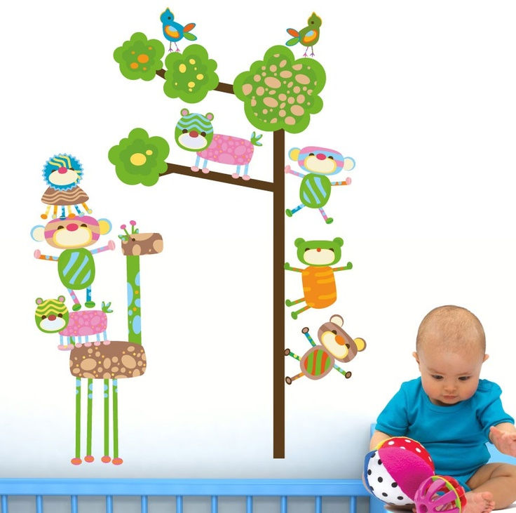 Funky Monkeys In A Tree Wall Stickers   TOTALLY MOVABLE