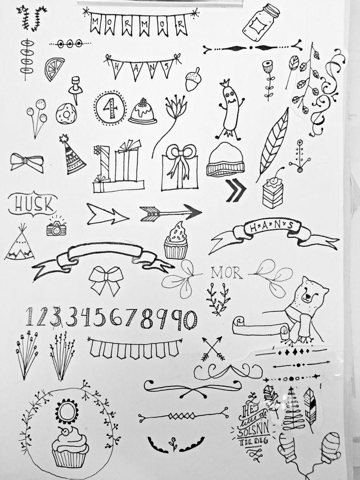 Elements - ornaments - borders - kirstine Kirk - skidtogkanel - hand lettering